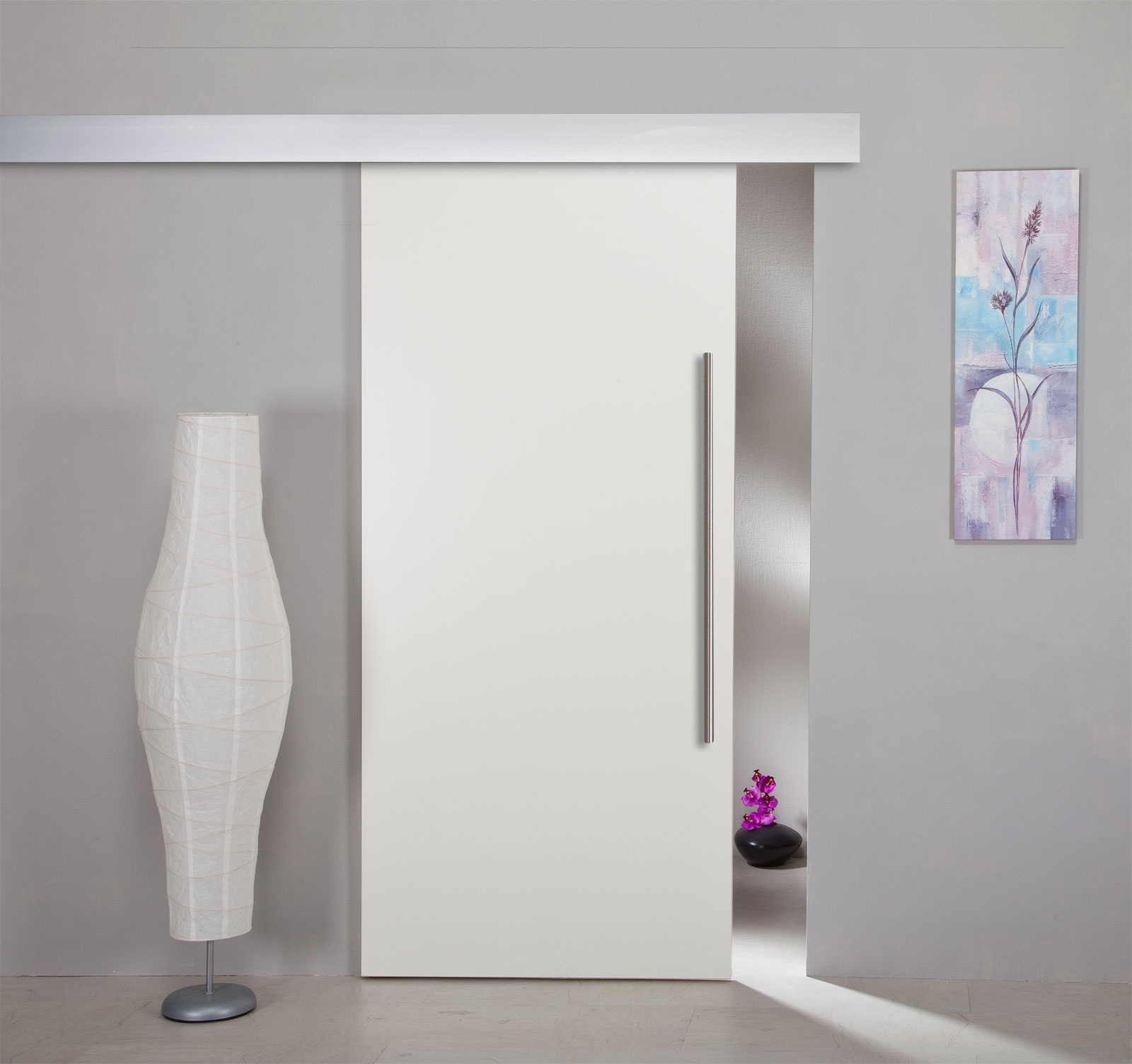 Schiebetür holz weiß glas  Schiebetür Holz weiß mit ALU60 Schiebesystem | eBay