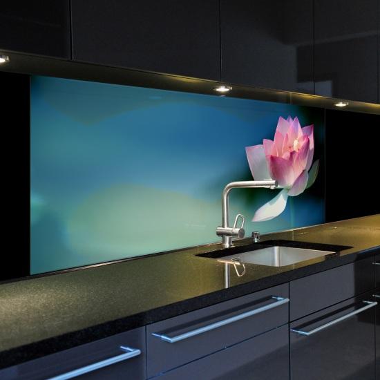 Glasbild k chenr ckwand spritzschutzwand motiv lotusblume verschiedene gr en ebay - Motiv kuchenruckwand ...