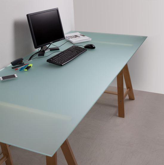 Schreibtischplatte  Große Schreibtischplatte HDS mattiert aus 8 mm Sicherheitsglas ...