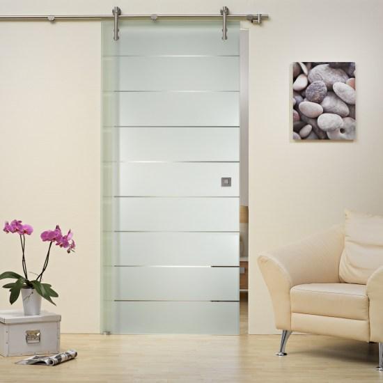 glasschiebet r v1000 klarglas mit streifendekor st 822 griffmuschel ebay. Black Bedroom Furniture Sets. Home Design Ideas