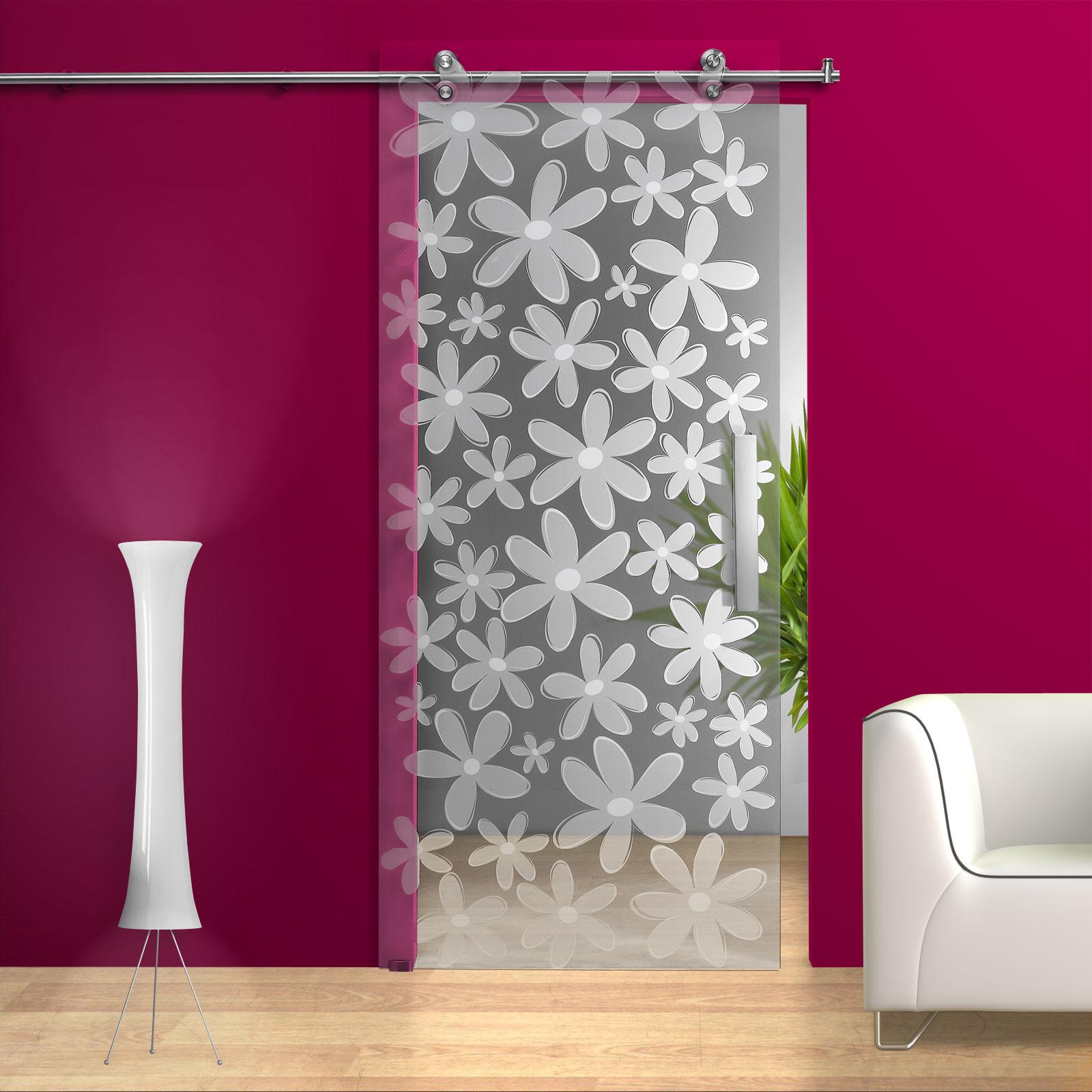 glasschiebet r sd926 v2000 klarglas mit blumendekor und griffstangen edelstahl ebay. Black Bedroom Furniture Sets. Home Design Ideas