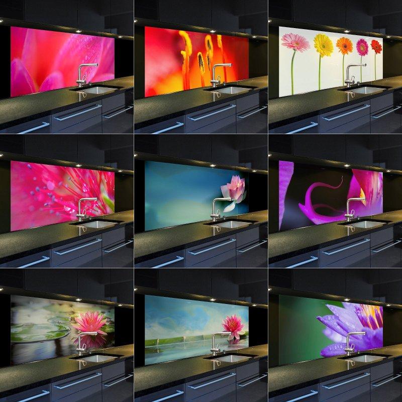 digitaldruck auf glas küchenrückwand spritzschutz ii mit 9 motiven