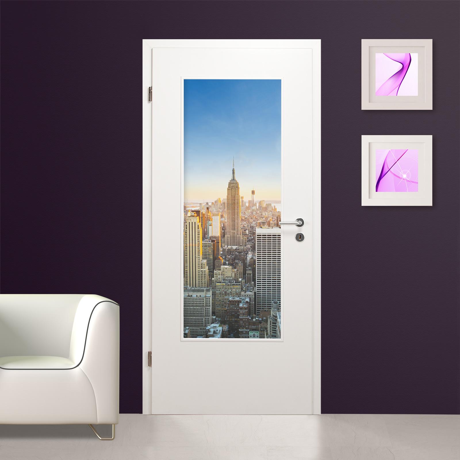 glaseinsatz f r holzt r digitaldruck hochwertig 1014 1 la motiv new york ebay. Black Bedroom Furniture Sets. Home Design Ideas