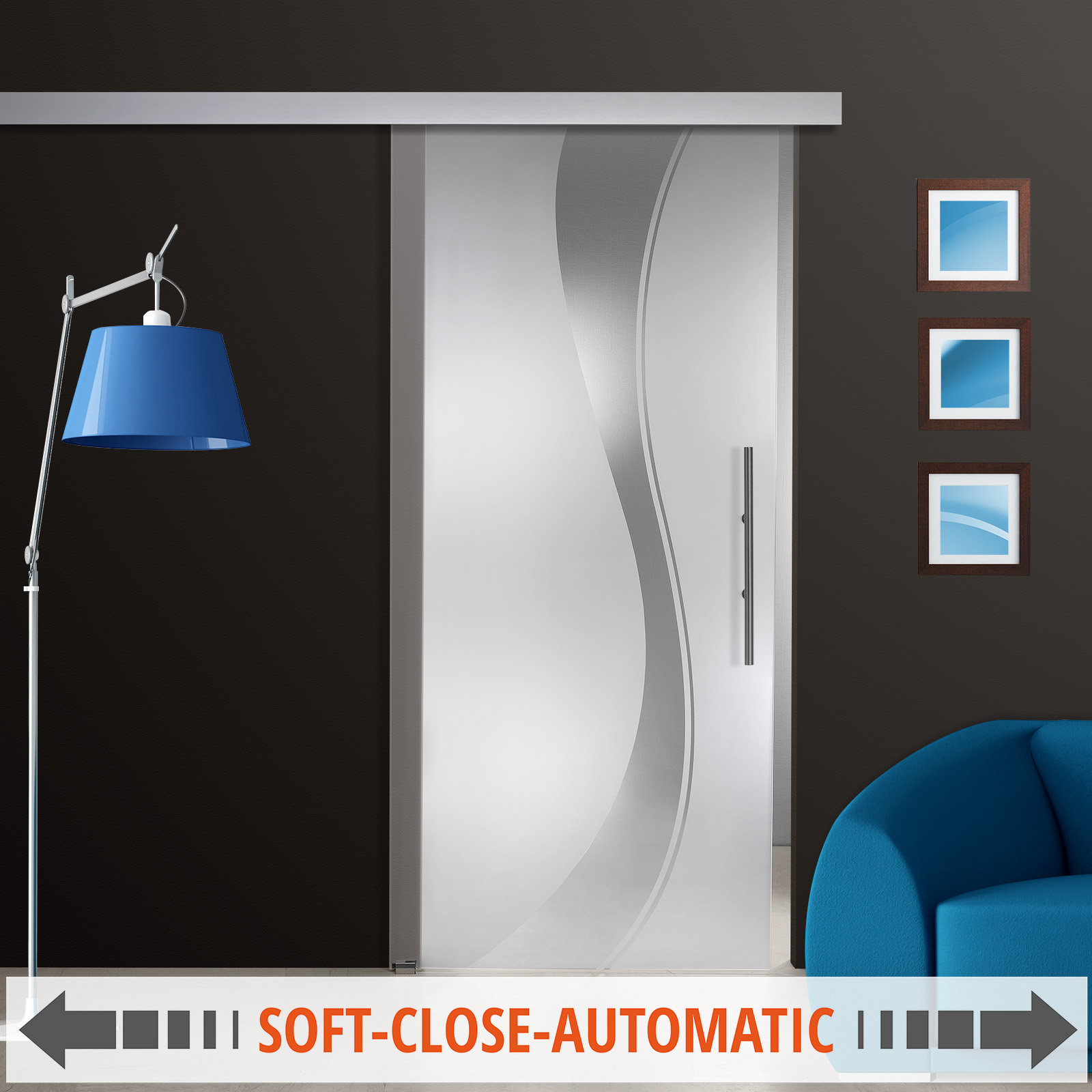 glasschiebet r st668 f klarglas dekor mit ag50 schiebesystem option soft close ebay. Black Bedroom Furniture Sets. Home Design Ideas