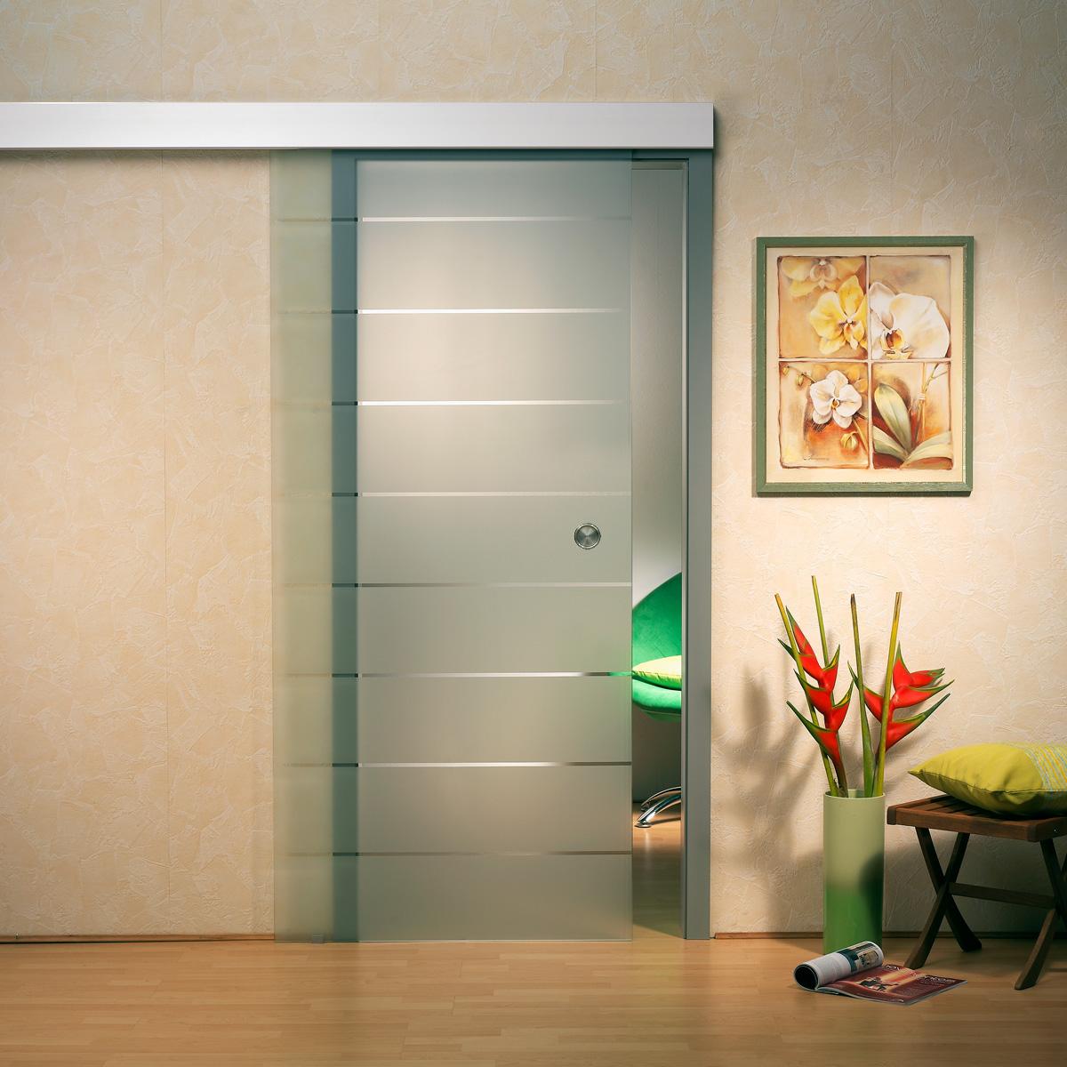 glasschiebet r sd734 alu60 klarglas streifendekor griffmuschel edelstahl ebay. Black Bedroom Furniture Sets. Home Design Ideas