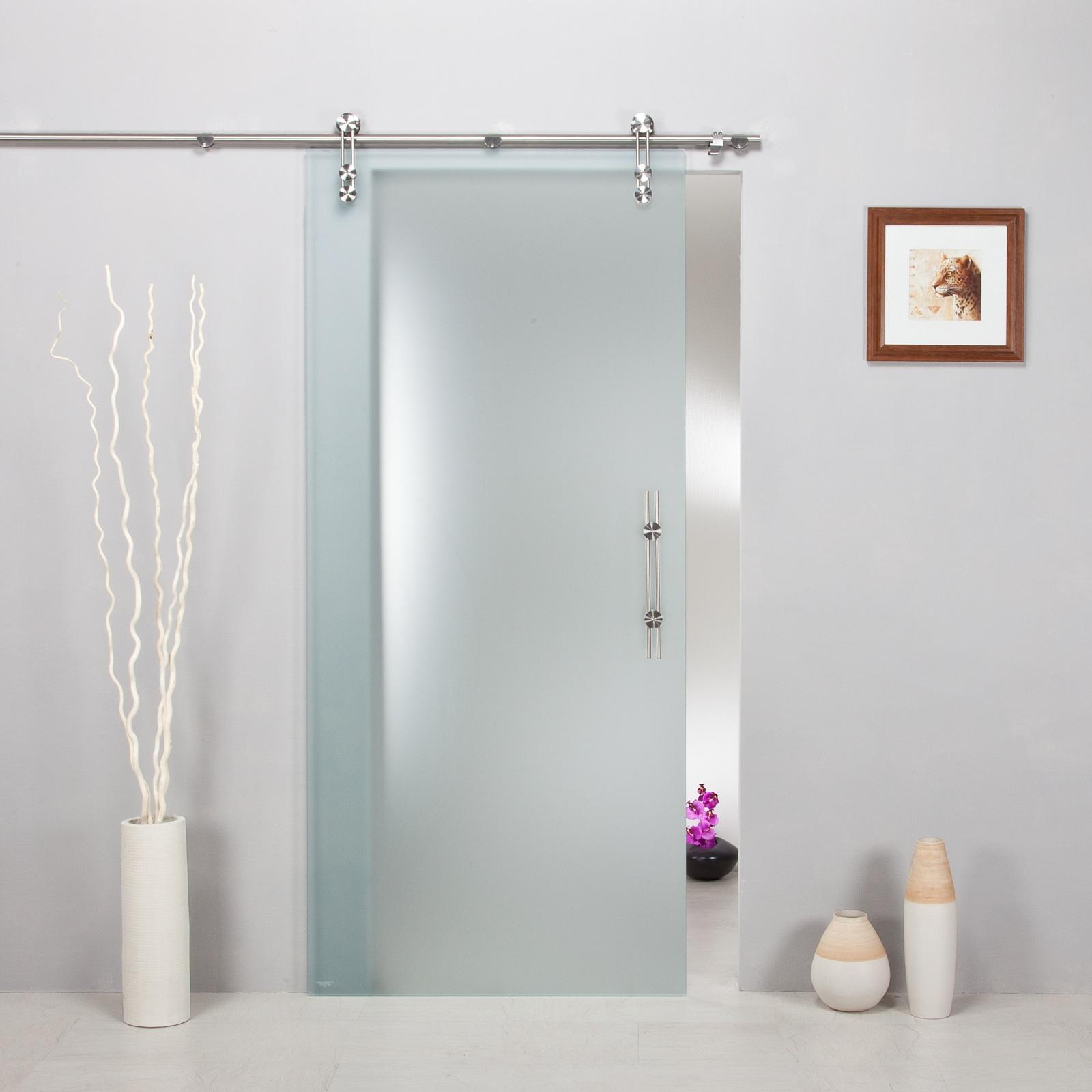 glasschiebet r satinato mit schiebesystem v1000 d und griffstange edelstahl. Black Bedroom Furniture Sets. Home Design Ideas