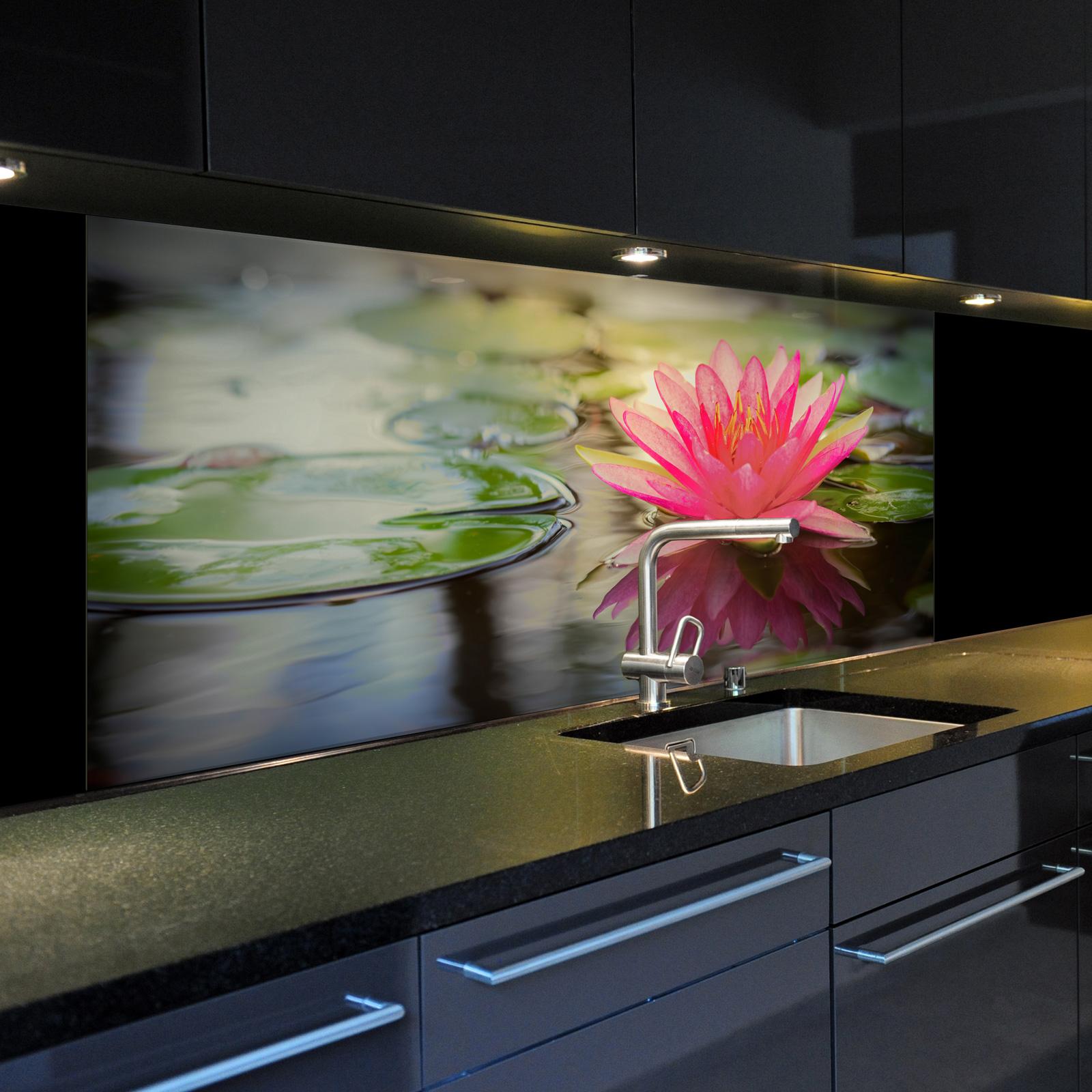 spritzschutzwand aus glas 1023 1 gb motiv seerose 4 f r ihre k che oder als bild ebay. Black Bedroom Furniture Sets. Home Design Ideas
