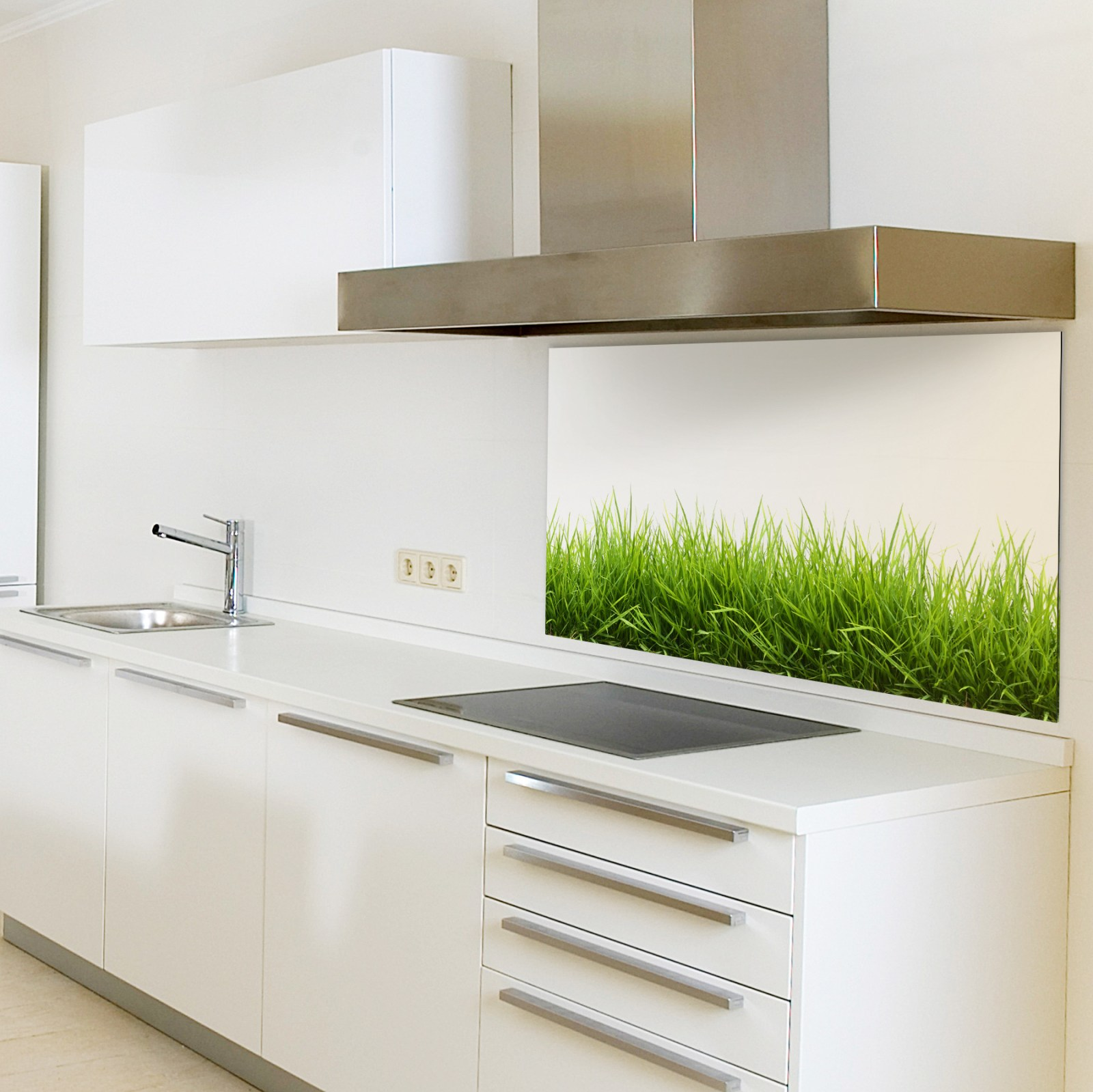 spritzschutzwand aus glas motiv gras f r ihre k che oder. Black Bedroom Furniture Sets. Home Design Ideas