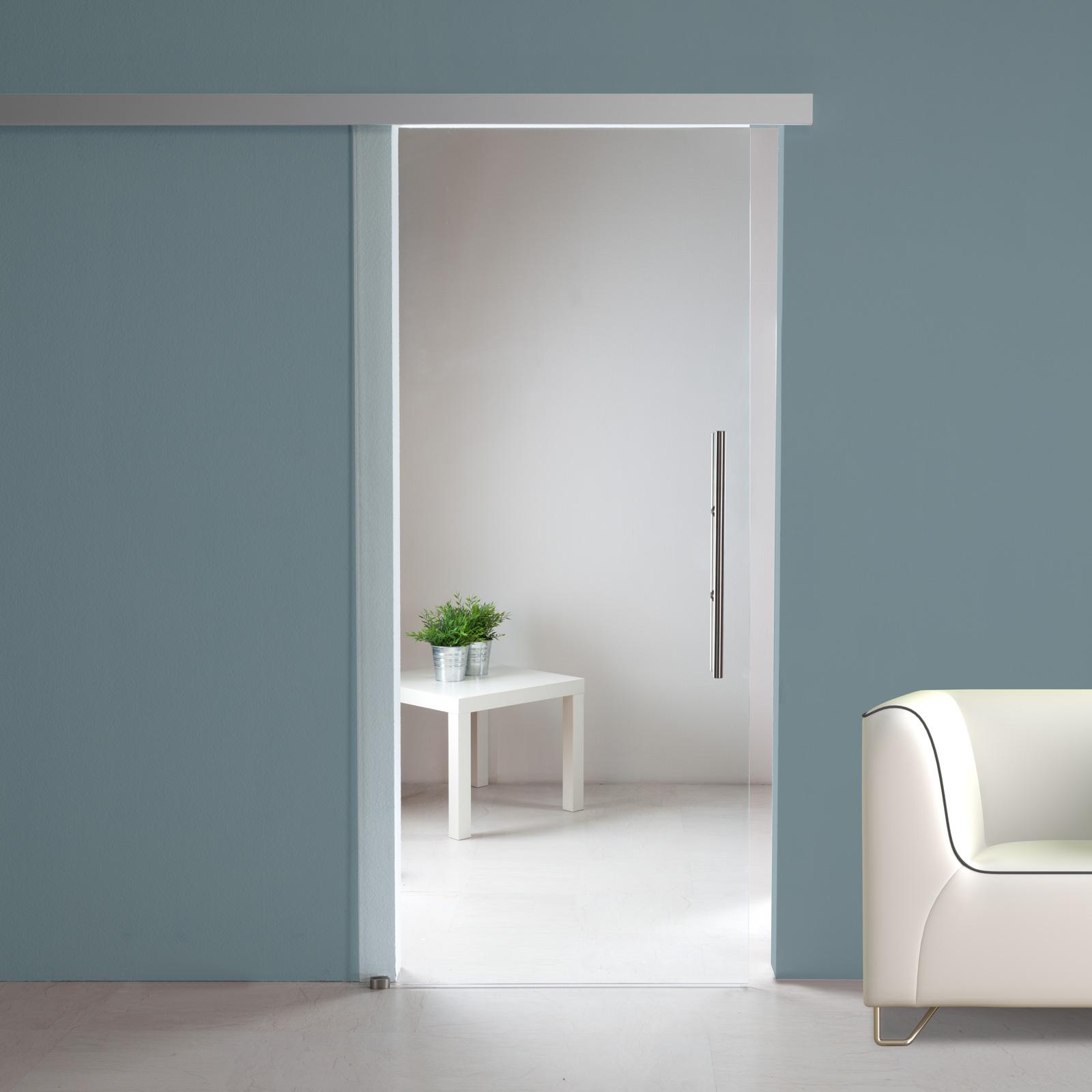 glasschiebet r st707 klarglas alu60 schiebesystem optional soft close ebay. Black Bedroom Furniture Sets. Home Design Ideas