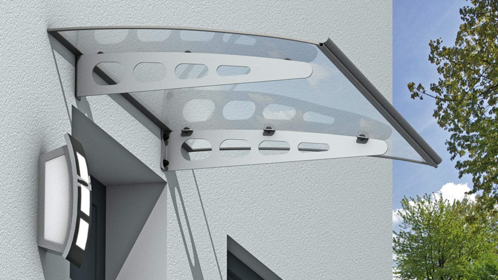 Vordach Polycarbonat VD09 mit Aluminium Halterungen 1400 x 1000 mm ...